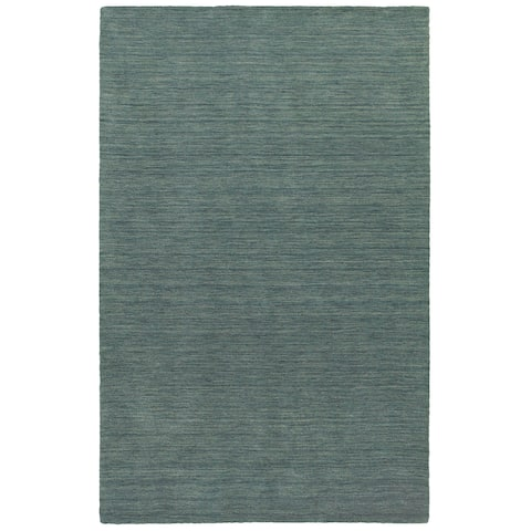Handwoven Plush Wool Heathered Blue Rug (8' X 10') - 8' x 10'