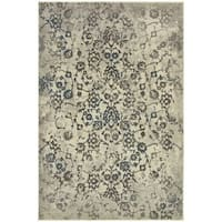 "Faded Floral Beige/ Grey Rug (9'10"" X 12'10"")"