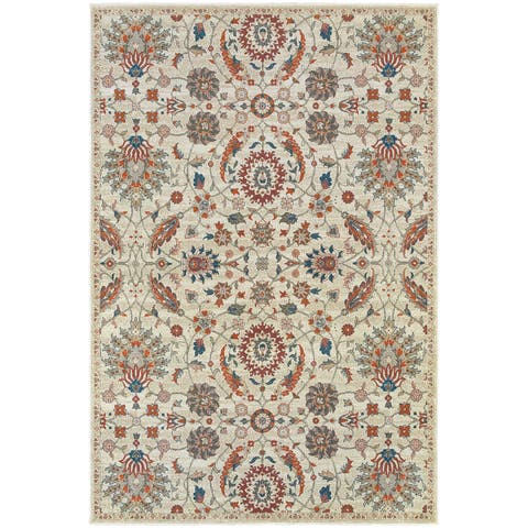 "Updated Traditional Floral Beige/ Multi Rug (9'10"" X 12'10"") - 9'10"" x 12'10"""