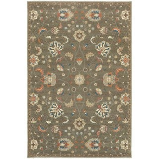 "Updated Traditional Floral Grey/ Multi Rug (9'10"" X 12'10"")"