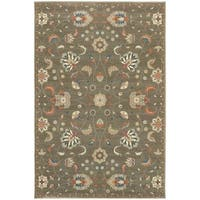 """Updated Traditional Floral Grey/ Multi Rug - 9'10"""" X 12'10"""""""