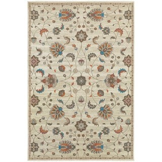 Updated Traditional Floral Beige/ Multi Area Rug (9'10 x 12'10)