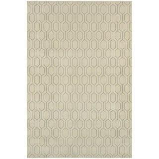 Geometric Lattice Heathered Ivory/ Grey Area Rug (9'10 x 12'10)