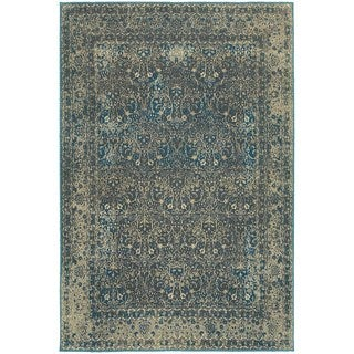 Faded Traditional Teal Blue / Brown Area Rug (9'10 x 12'10)