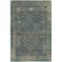 Faded Traditional Teal Blue / Brown Area Rug - 9'10 x 12'10