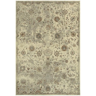 "Distressed Traditional Floral Beige/ Grey Rug (9'10"" X 12'10"") - 9'10"" x 12'10"""