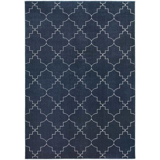"Scalloped Lattice Heathered Navy/ Ivory Rug (9'10"" X 12'10"")"