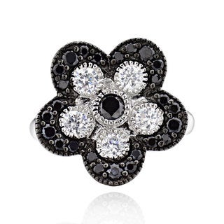 Sterling Silver Black and White Round Cubic Zirconia Flower Ring (China)
