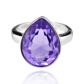 Sterling Silver Pear Shape Purple Tanzanite Crystal Solitaire Ring (China)