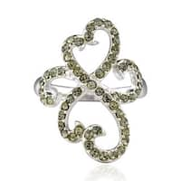 Sterling Silver Round Crystal Ring (China)