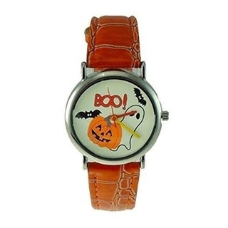 Women's Halloween Watch Orange Faux Leather Band Ghost Bat Pumpkin Dial