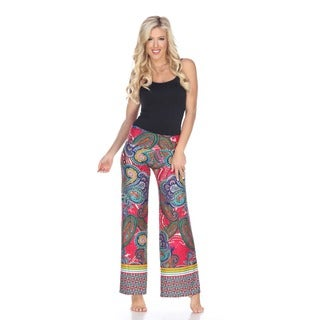 White Mark Women's Green/ Pink Paisley Palazzo Pants