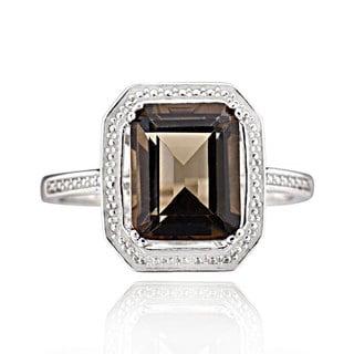 Sterling Silver Octagon Smoky Quartz Ring (China)