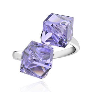 Sterling Silver Cube Violet Crystal Bypass Ring (China)