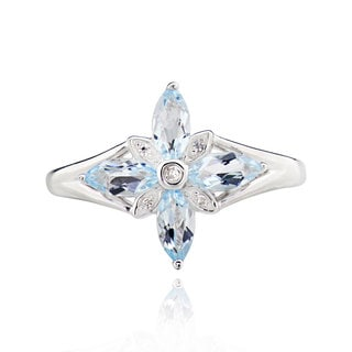 Sterling Silver Marquise Blue Topaz Ring (China)