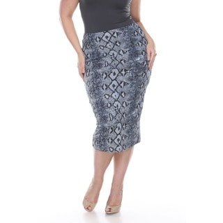 White Mark Women's Plus Size 'Pretty and Proper' Black and White Reptile Print Pencil Skirt