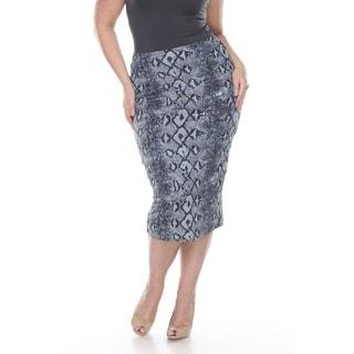 White Mark Women's Plus Size 'Pretty and Proper' Black and White Reptile Print Pencil Skirt