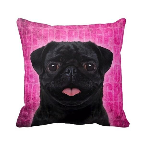 Pug Black Grunge 16-inch Throw Pillow