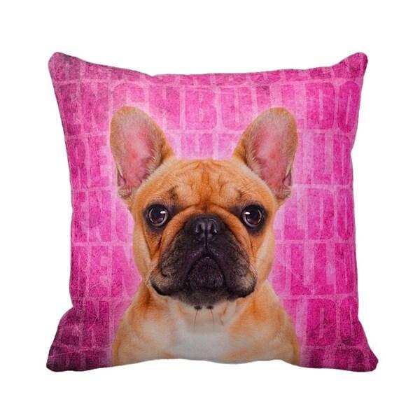 French Bulldog Fawn Grunge 16-inch Throw Pillow
