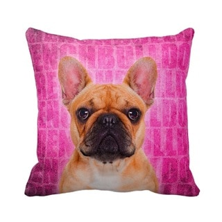 French Bulldog Fawn Grunge 16-inch Throw Pillow
