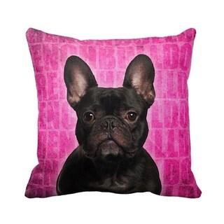 French Bulldog Black Grunge 16-inch Throw Pillow
