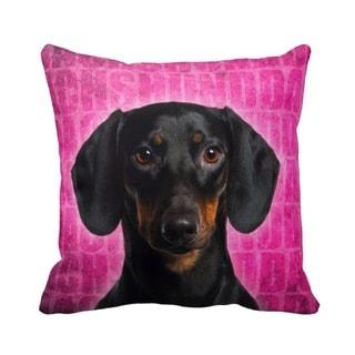 Dachshund Black Grunge 16-inch Throw Pillow