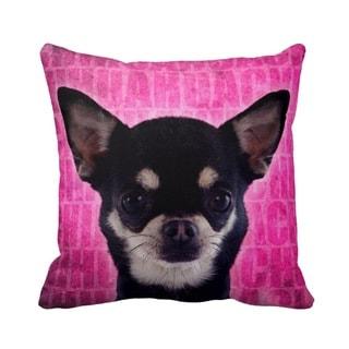 Chihuahua Black Grunge 16-inch Throw Pillow
