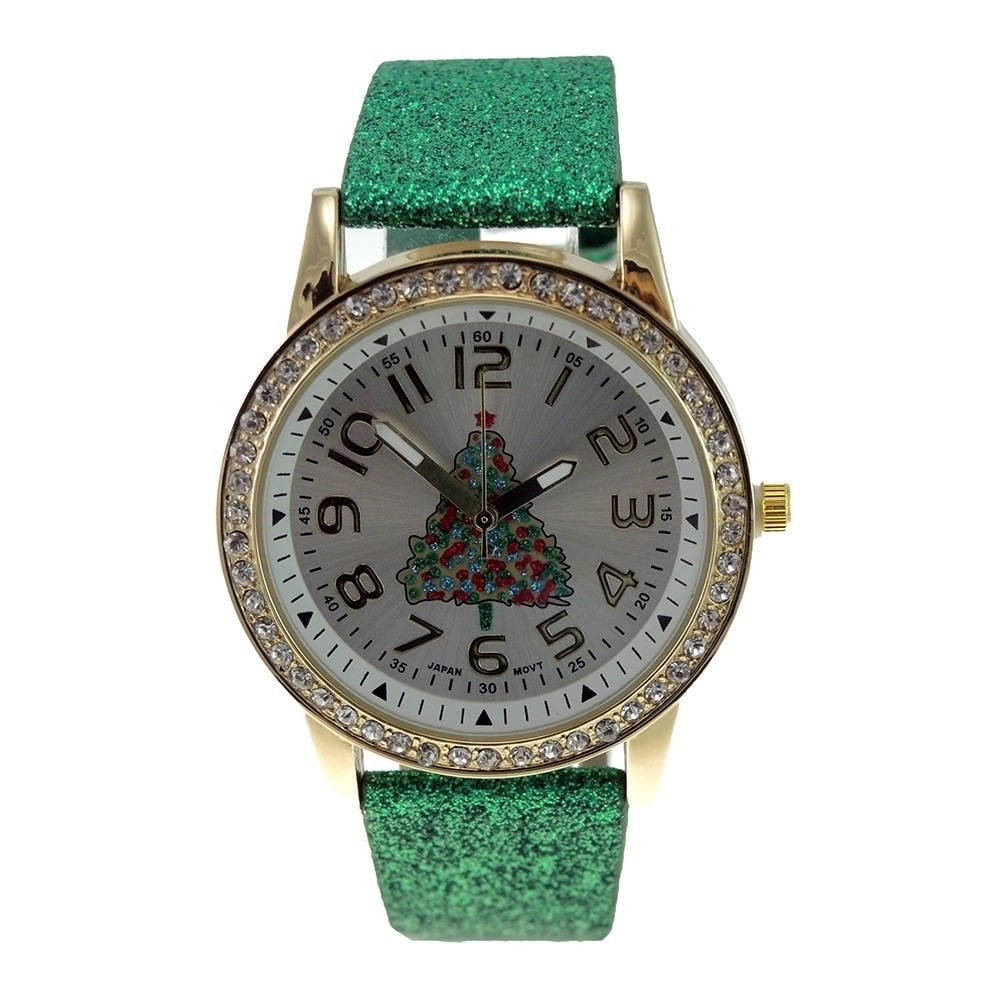Women's Faux Leather Green Glitter Christmas Tree Crystal...