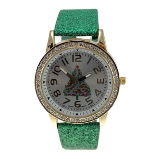 Women's Green Glitter Faux Leather Christmas Tree Watch Crystal Bezel Easy Read Dial
