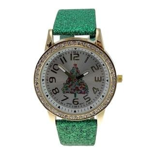 Women's Green Glitter Faux Leather Christmas Tree Watch Crystal Bezel Easy Read Dial