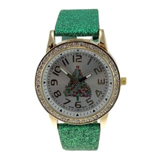 Women's Faux Leather Green Glitter Christmas Tree Crystal Dial Watch
