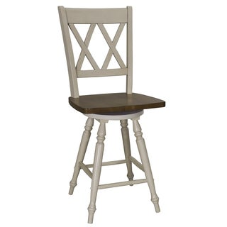 Fresco Two-Tone Transitional Double X Back Swivel 24 Inch Barstool