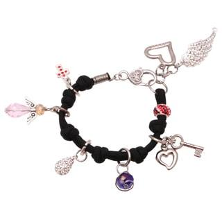 Bleek2Sheek Handmade Silver on Black Cord Red/ Blue Rhinestone Charm Bracelet with Feather/ Heart/ Angel and Cross
