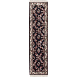 Ecarpetgallery Royal Kashan Beige/ Black Wool Area Rug (2' x 10')