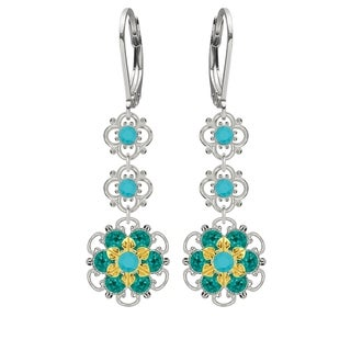 Lucia Costin Sterling Silver Turquoise/ Turquoise - Green Crystal Earrings
