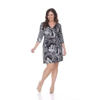 White Mark Women's 'Mariah' Black and White Paisley Wrap Dress