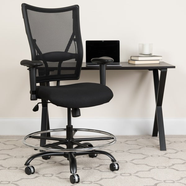 Big & Tall 400 lb. Rated Black Mesh Ergonomic Drafting Chair w/ Adjustable Arms