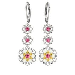 Lucia Costin Sterling Silver Pink/ White Crystal Earrings