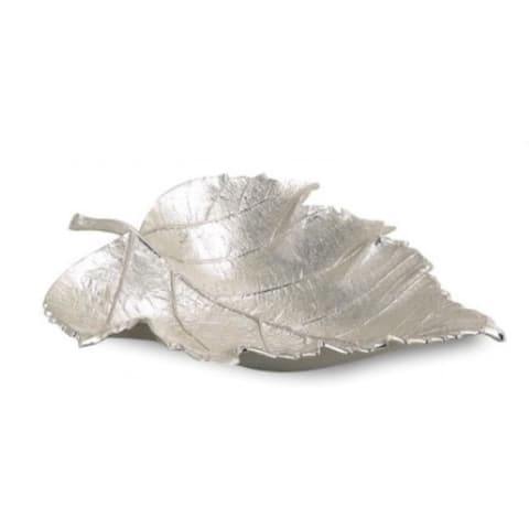 """Heim Concept Maple Leaf Dish 7"""" x 5"""", Nickel Plated Aluminium"""