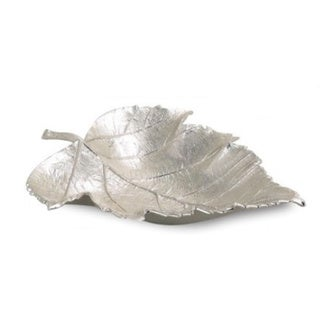 "Elegance Maple Leaf Dish 7"" x 5"", Nickel Plated Aluminium"