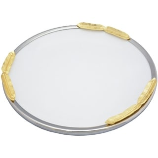Elegance Gold Feather Round Platter
