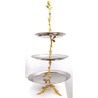 Elegance Gilt Leaf 3-tier Tray