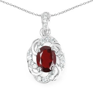 Malaika 1.98 Carat Genuine Garnet and White Topaz .925 Sterling Silver Pendant