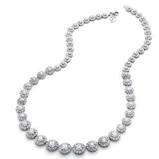 PalmBeach Platinum over Sterling Silver 15 5/8ct Round Cubic Zirconia Graduated Halo Necklace Glam CZ