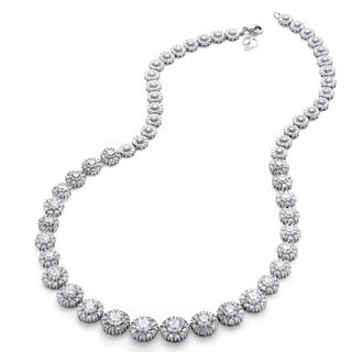Platinum over Sterling Silver 15 5/8ct Round Cubic Zirconia Graduated Halo Necklace Glam C