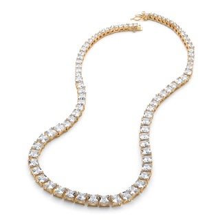 Yellow Goldplated 44 1/8ct Princess-cut Graduated Cubic Zirconia Tennis Necklace Glam