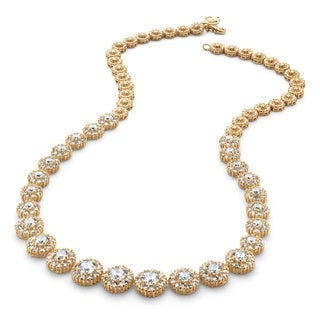 Goldplated 15 5/8Ct Round Cubic Zirconia Halo Eternity Necklace Glam Cz