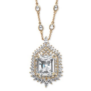 PalmBeach 14k Goldplated 46 3/4ct Emerald-cut Cubic Zirconia Station Necklace Bold Fashion