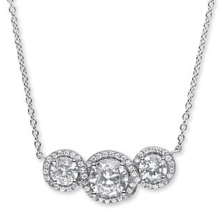 Platinum over Sterling Silver 2 5/8ct Round Cubic Zirconia Crossover Halo Pendant Classic