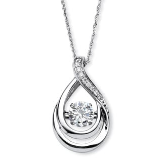 Platinum over Sterling Silver 1ct Cubic Zirconia 'CZ in Motion' Drop Pendant Classic CZ
